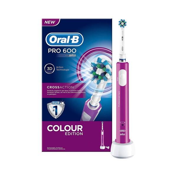 Braun oral-b pro 600 crossaction morado cepillo de dientes eléctrico recargable con tecnología 3d