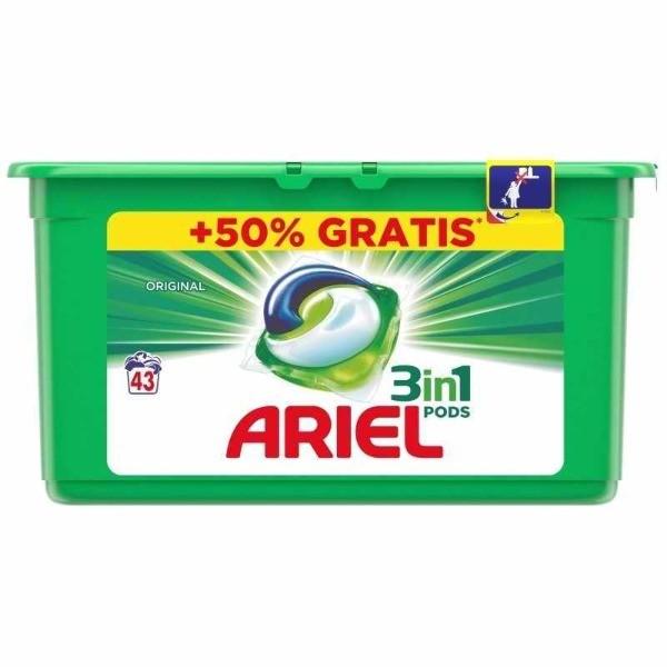 ARIEL detergente tabs verde 3en1 43 uni + 50% GRATIS