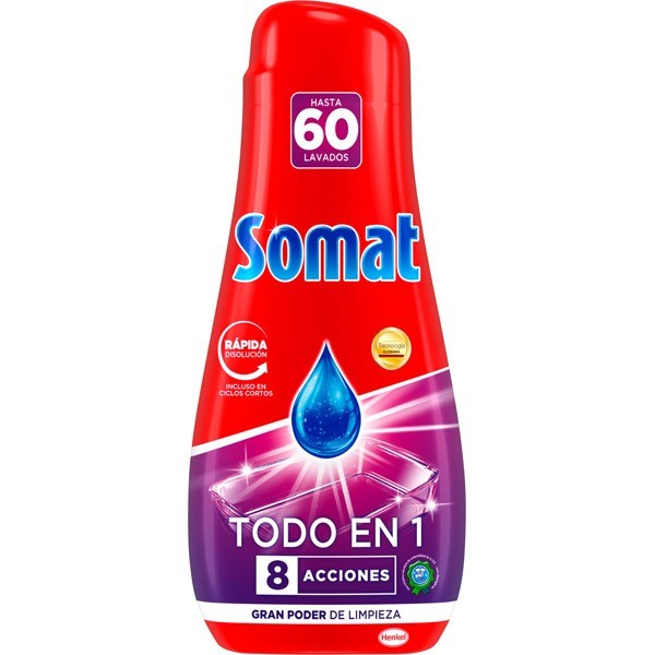 Somat lavavajillas gel Todo en 1 ,  60 lavados 1.080 ml